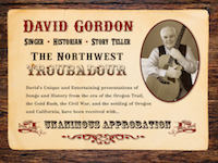 David Gordon, The Northwest Troubadour